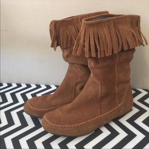 Leather, suede, fringe slouch boots moccasins